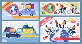 Bicycle And Car Family Trip Round Globe Promo Banner Set. Eco Tour For Cyclists, In Mountains, To Fo poster