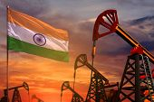 India Oil Industry Concept, Industrial Illustration. India Flag And Oil Wells And The Red And Blue S poster