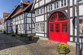 Red Door In A Half Timbered House In Rheda, Germany poster