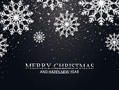 Christmas Background With Silver Glitter Snowflakes, Falling Particles, Stars. Merry Christmas And H poster