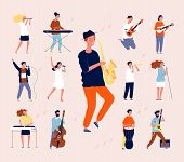 Music Persons. Rock Classical Musical Performing Musicians Singing And Playing Orchestra Instruments poster