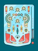 Pinball Machine. Funny Game Ball Spare Strike Childhood Emotions Boules Button Decorative Vector Gra poster
