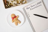 Phrase New Years Resolutions 2020 In The Notebook And Pen. Gingerbread Man On Table poster