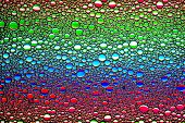 Top View On A Colorful Drops Of Oil On The Water. Rainbow Or Spectrum Colored Circles, Ovals. Abstra poster