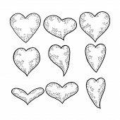 Heart Symbol Set Sketch Engraving Vector Illustration. Romantic Love Lovesickness Symbol. T-shirt Ap poster
