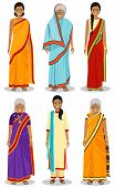 Indian Woman. Set Of Different Standing Old, Adult And Young Women In The Traditional National Cloth poster