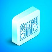 Isometric Line Dj Remote For Playing And Mixing Music Icon Isolated On Blue Background. Dj Mixer Com poster
