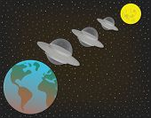Three Ufo Alien Extraterrestrial Spaceships Flying In A Row Above And Between Earth And Moon. Three  poster