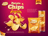 Potato Chips Advertising Of Snack Food Vector Design. Realistic Packages Of Crisps, Foil Bag And Pap poster
