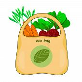 Eco Bag Isolated On White Background. Eco Bag With Vegetables. Green Shopping Bag With Recycle Symbo poster