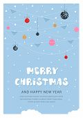 Christmas And New Year Snow Postcard. Holiday Postcard Template. Holiday Postcard With Christmas Toy poster