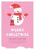 Christmas And New Year Snow Postcard. Holiday Postcard Template. Flat Holiday Postcard With Snowman  poster
