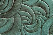 Texture Of Green Mint Genuine Leather Close-up, With Embossed Twirl Curve, Spiral Trend Pattern. Fas poster