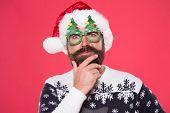 Santa Needs Good Beard. Hipster Touch Beard Hair In Festive Style. Bearded Man With Long Mustache An poster