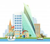 Big City With Skyscrapers And Small Houses. Vector Yacht And Sailboat On The River. Business And Tou poster