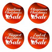 Red Christmas Sale Stickers Sizzling, Clearance, Biggest, End Of.vector Illustration poster