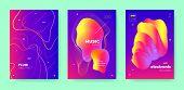Red Dj Flyer. Electronic Concert. Purple Gradient Banner. Neon 3d Fluid Waves. Colorful Dj Poster. E poster