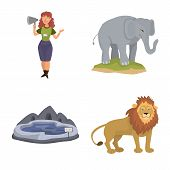 Vector Illustration Of Zoo And Park Icon. Set Of Zoo And Animal Vector Icon For Stock. poster