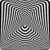 Abstract Black And White Striped Background. Geometric Pattern With Visual Distortion Effect. Optica poster