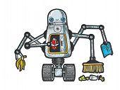Robot Garbage Scavenger Sketch Engraving Vector Illustration. T-shirt Apparel Print Design. Scratch  poster