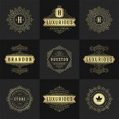 Vintage Logos And Monograms Set Elegant Flourishes Line Art Graceful Ornaments Victorian Style Vecto poster