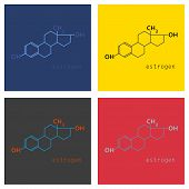 Set Of Estrogen Molecule Structure In Style. Scientific, Educational And Popular-scientific Concept. poster
