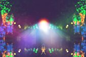 Blurred Bokeh Night Lights In Restaurant, Pub Or Bar, Abstract Image Of Night Festival, Christmas Li poster