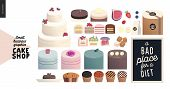 Cake Shop, Cakes On Demand - Small Business Graphics - Cakes Assortment -modern Flat Vector Concept  poster