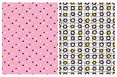 Lovely Colorful Dotted Seamles Vector Patterns. White,yellow And Black Dots On A Pink Background. Bl poster