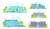 Hotel Buildings Architecture Icons. Vector Luxury Apart Hotel, Condominium Apartments And Boutique R poster