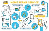 Repair Service, Construction Tools Online Shop In Smartphone. Vector Thin Line Remodeling, Renovatio poster