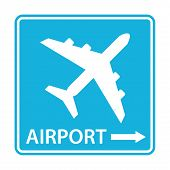 Airport Icon For Web And Mobile. Airport Pointer Icon. Blue Airport Sign With Directions Isolated On poster
