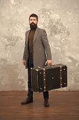 Retro And Vintage. Fashion Trend. Accessories For Vacation. Best Travel Bags For Men. Guy Well Groom poster