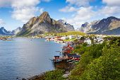 Top View Of The Fishing Village Reine With Typical Rorbu Houses In Lofoten Islands, Norway. poster