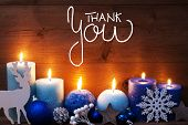Turquoise Candle, Christmas Decoration, Calligraphy Thank You poster