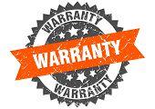 Warranty Grunge Stamp With Orange Band. Warranty poster