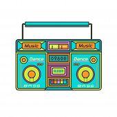 Retro Tape Recorder .music Technology .retro Audio . Illustration, Vector . poster