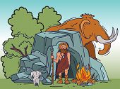 Ancient Cartoon Caveman Standing Near His Cave Vector Illustration. Historic Primitive Dweller, Anci poster