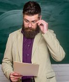 Mature Man At School. Back To School. Smart And Intelligent Look. Informal Education. Chemistry Conc poster