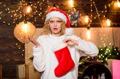 Woman Hold Red Stocking. New Year Celebration. Buy Or Knit Your Christmas Stocking And Stuff Them Wi poster