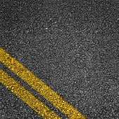foto of tar  - Highway surface with two yellow lines - JPG
