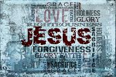 stock photo of gospel  - Religious Words on Grunge Background ideal for church projects - JPG