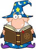 image of warlock  - Wizard Holding A Magic Book Cartoon Character - JPG