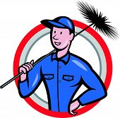 stock photo of sweeper  - Illustration of a chimney sweeper cleaner worker with sweep broom viewed from front set inside circle done in cartoon style - JPG