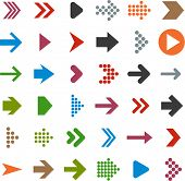 image of arrowhead  - Vector illustration of plain arrow icons - JPG