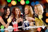 pic of hen party  - Portrait of pretty girls celebrating birthday in the cafe - JPG