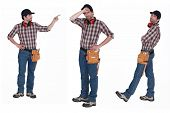 stock photo of muffs  - Handyman with ear muffs - JPG