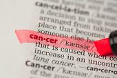 stock photo of pronunciation  - Cancer definition highlighted in red in the dictionary - JPG