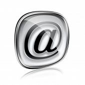 Email Icon Grey Glass, Isolated On White Background.