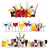 stock photo of vodka  - Set of different alcoholic drinks and cocktails  - JPG